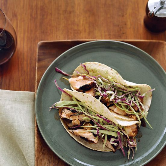 Dry-Rubbed Salmon Tacos with Tomatillo-Avocado Slaw Recipe - Jeff Smith | Food & Wine