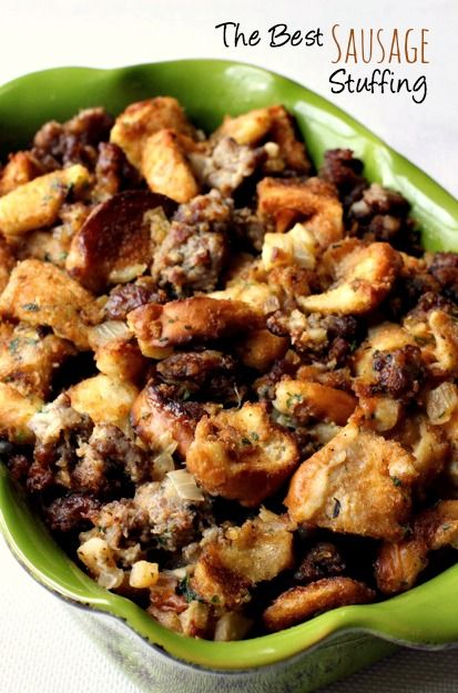 My favorite stuffing recipe, tons of sausage, big chunks of seasoned bread - baked up crispy on the outside and soft on the inside. Goes with any dinner! (Freezes great, too)