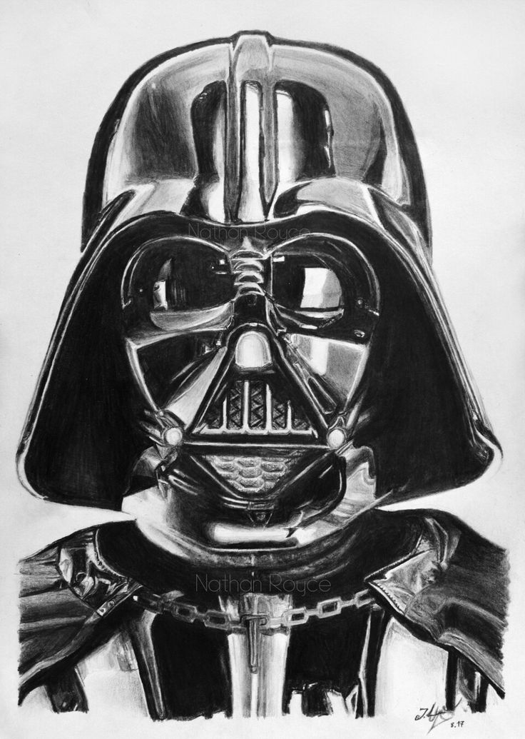 Darth Vader realistic pencil drawing A4 Pencils H, HB, 4B, 6B, 8B by Nathan Royce Find more on www.facebook.com/nathroyce/