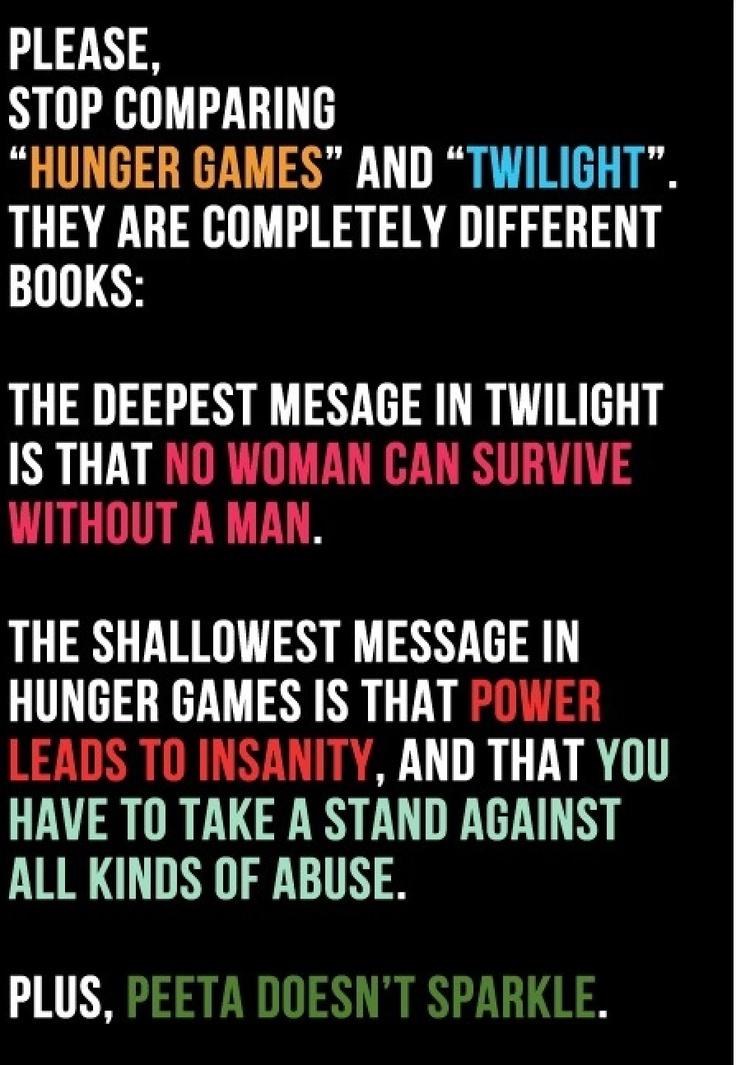 Twilight vs. hunger games ITS TRUEEEEEEE TWILIGHT SUCKS