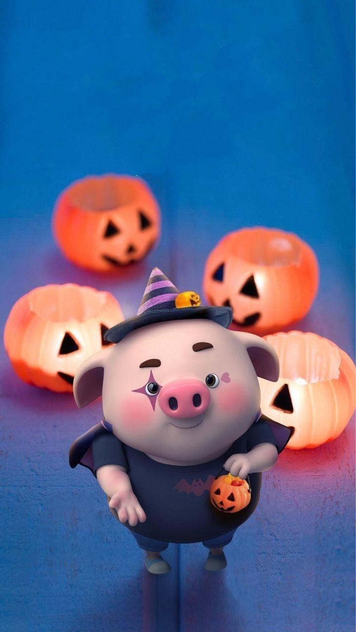 Pig 🍭 Three Little Piggies, This Little Piggy, Little Pigs, Feliz Halloween, Halloween Cartoons, Happy Halloween, Kawaii Pig, Pig Wallpaper, Cute Piglets