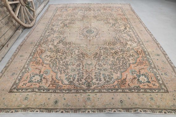 7x11 Persian Vintage Rug Faded Red Beige Area Rug Large Etsy Vintage Persian Rug Vintage Rugs Beige Area Rugs 7 x 11 area rugs