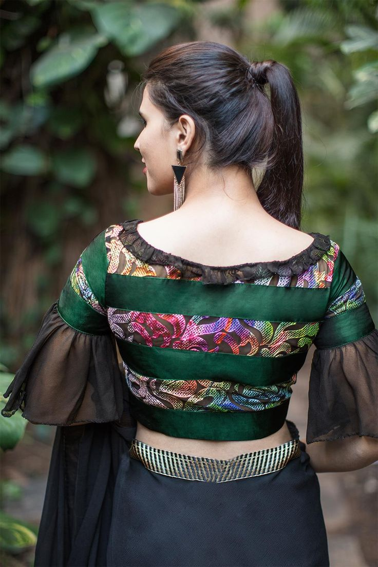 House Of Blouse Banded frilly multicolor blouse