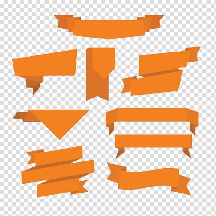 Orange Banner Lot Illustration Orange Ribbon Euclidean Orange Polygon Folding Ppt Decoration Transparent Backg Transparent Background Clip Art Free Clip Art