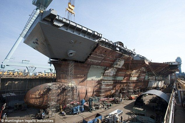 Power: The USS Gerald R. Ford is the new generation of aircraft carriers capable of launching 220 airstrikes a day