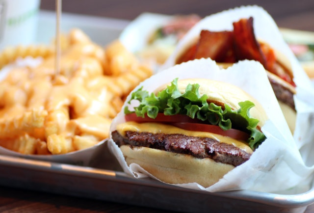 """Shake Shack - Chestnut Hill, MA -- NYC's notoriously cultish """"modern day roadside burger stand""""."""