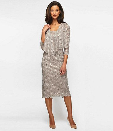 Available at Dillards.com #Dillards Alex Evenings Scalloped Lace Jacket Dress - stone Item #04122890