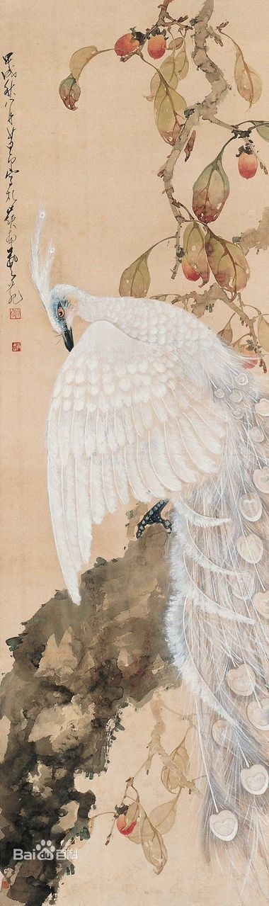Zhao Shao Ang] white feather peacock