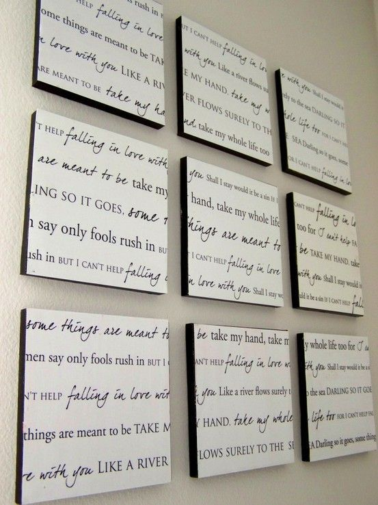 DIY – write out your favorite song lyrics or favorite chapter of a book. For your own home or as a gift or could make a great WEDDING gift if you know the bride and grooms first song… love love love @ DIY Home Crafts