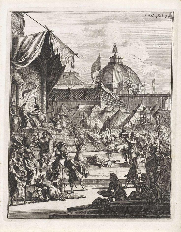 Anonymous | Buigende onderdanen voor een heerser, Anonymous, Wouter Schoutens, Jacob van Meurs, 1676 | Links zit een heerser op een troon onder een baldakijn. Voor hem buigt een menigte. Vooraan enkele figuren met voorwerpen. Op de achtergrond tenten en een koepel achter een muur. Rechtsboven: 2. del. fol. 74.