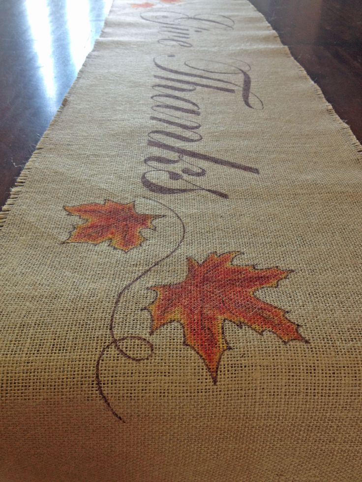 """Burlap is so versatile! It fits many styles: shabby chic, eclectic, rustic, contemporary, natural... the list goes on. This table runner has """"Give Thanks""""printed in large script in the center. It meas"""