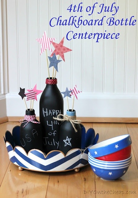 Cute chalk board painted bottles with a 4th of July theme.