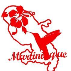 Sticker département de la martinique colibri et hibiscus rouge
