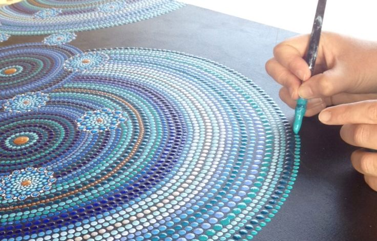 Detail abstract dot art painting Touch
