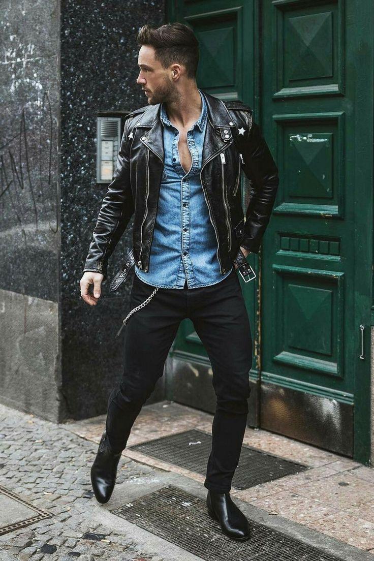 Look negro es tendencia, y esas botas son ingreibles el denim realza con esa fantatica Jaket  #mens #fashion #style