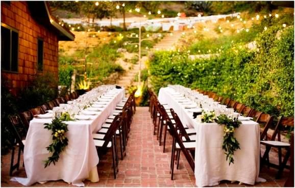 french country outdoor wedding buffet | ... outdoor wedding tamily style dining seating long table brick patio