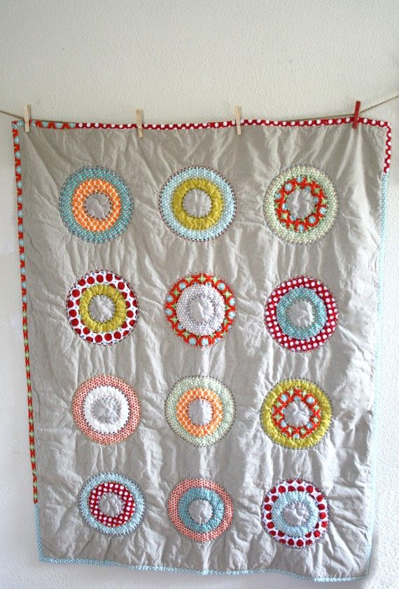 Circles and Dots Handmade Quilt by Namoo made with designer cotton fabrics and unbleached natural linen. The backing is 100% premium cotton muslin by Robert Kaufman and the thin batting is organic cotton.  on Etsy