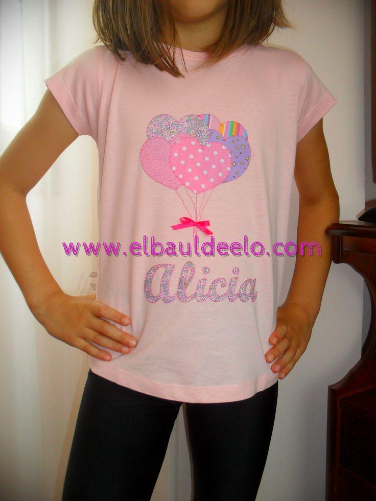 www.elbauldeelo.com camisetas patchwork, aplicación globos colores