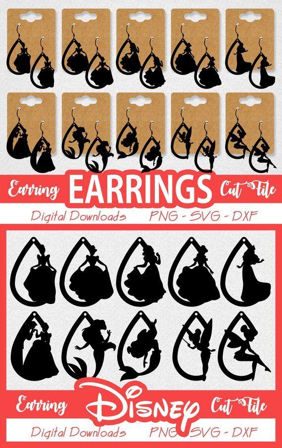 2c9d7d8e3 Earrings - Disney Princess Tinkerbell Belle Little Mermaid Digital Jewelry  Cut - PNG SVG DXF - Insta | Products | Disney earrings, Diy leather earrings,  ...
