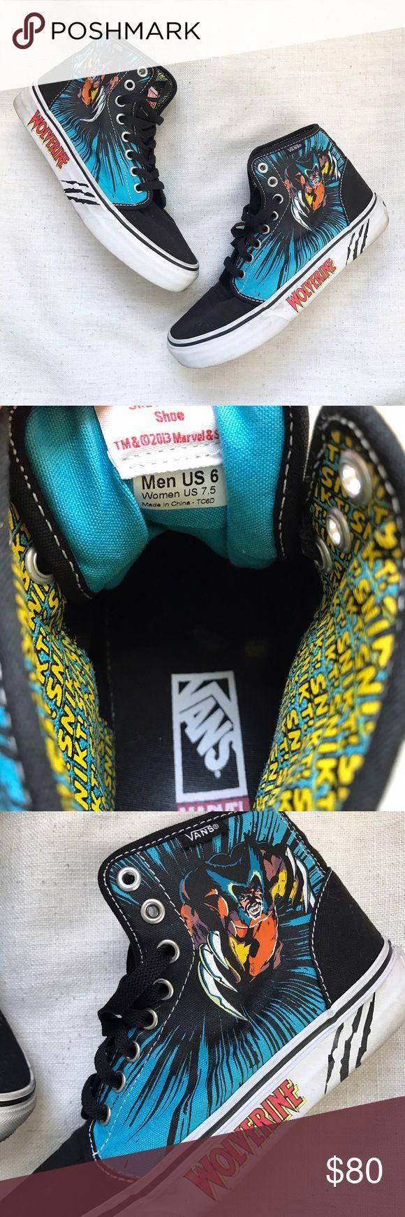 Wolverine Marvel Comics VANS Hi Top Sneakers VANS Marvel Comics Wolverine hi Tops. Rare. Mens 6 / Women's 7.5 Vans Shoes Sneakers