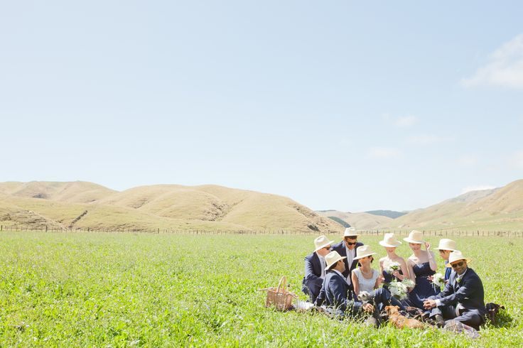 Bridal Party picnic in the field