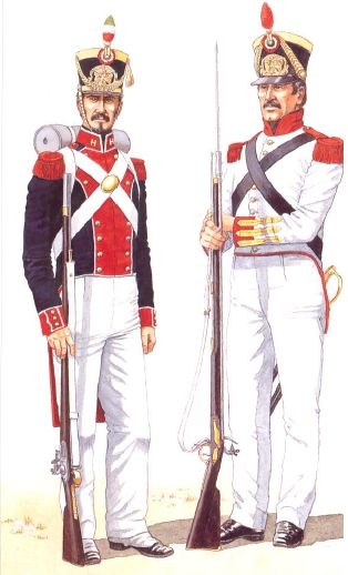 "Mexican infantry uniforms from the time of the Texas War for Independence by Bill Younghusband from Osprey's volume ""Santa Anna's Mexican Army."" Here the Fusilier NCO wears the 1831 double-breasted coat with red lapels and white piping. The shako features the tri-color plume with yellow lace and cords. The chin-scales and plate are brass. Shako decoration seemed to vary somewhat. Cords were often left with the baggage, and lace could appear at the crown or base, the crown only, or not at…"