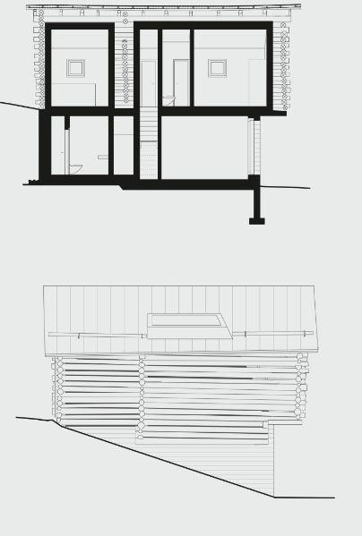 Hans Jorge Ruch Da un fienile ... una casa Sezione e prospetto