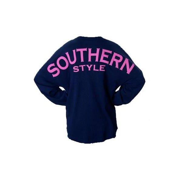 Southern Style Spirit Jersey ($43) ❤ liked on Polyvore featuring tops, shirts, sweatshirts, t-shirts, jersey shirts, jersey tops, shirts & tops, blue shirt and jersey knit shirts