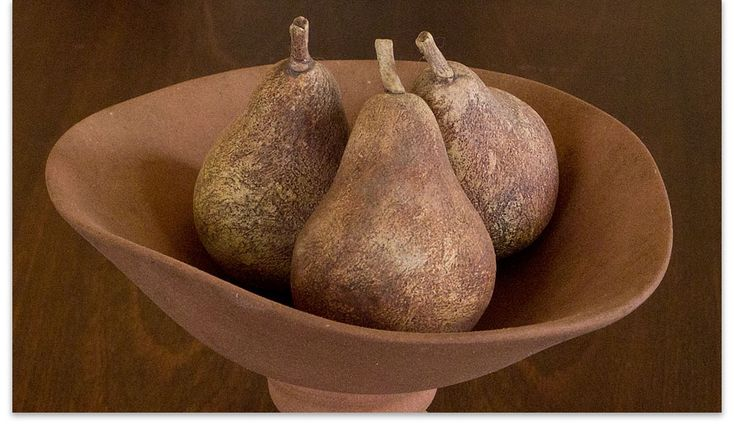 "Ann Verdcourt - ""Three Pears and Pedestal"", 1985 - stained eartheware"