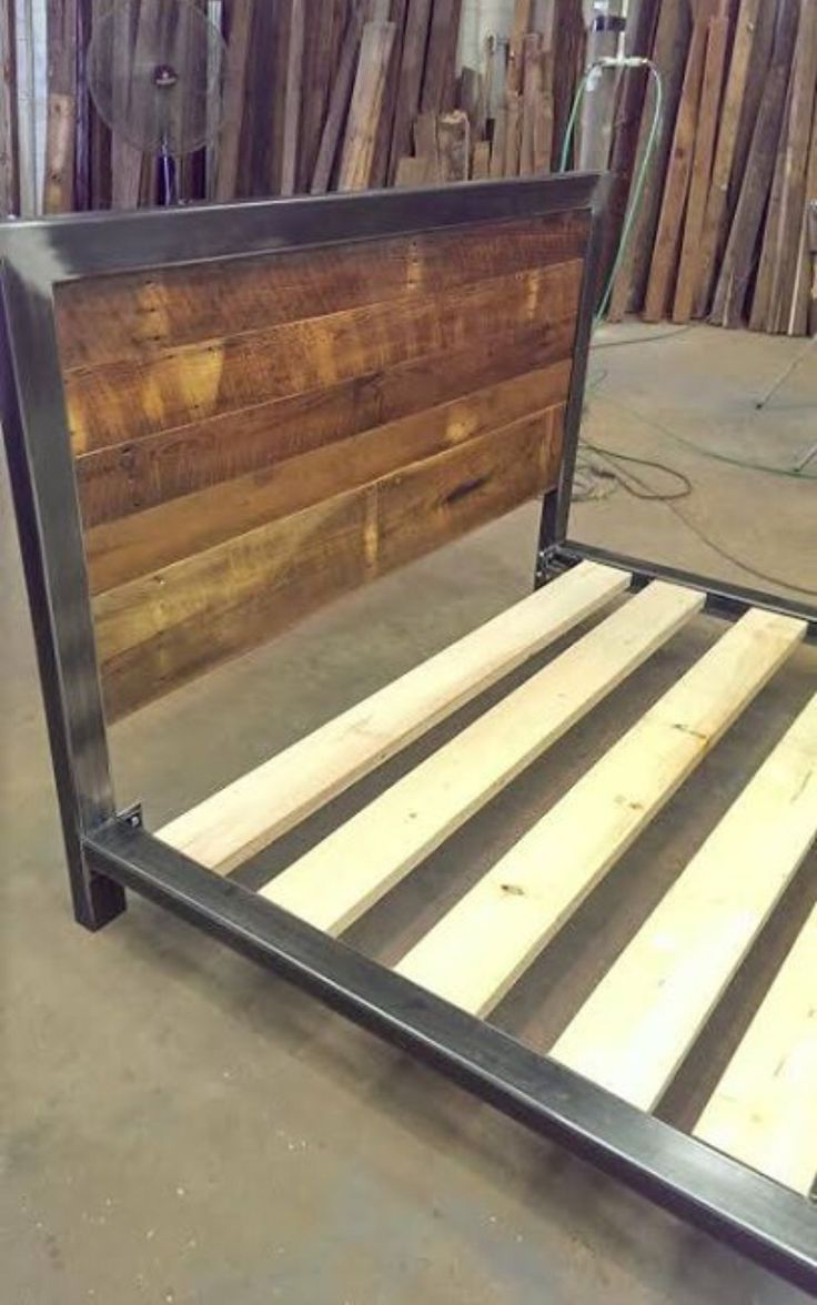 Custom wood bed frame - Industrial Bed Frame Many Custom Designs Can Be Added Including Cnc Machine Art On