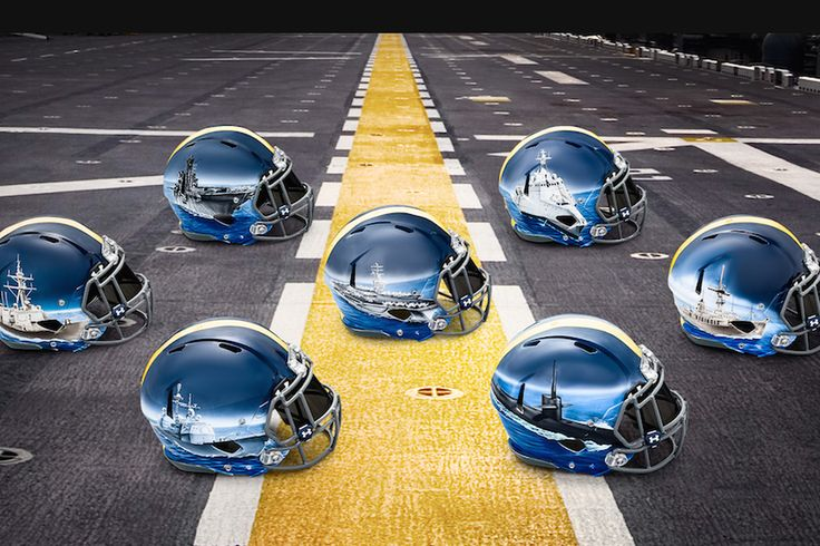 Navy's badass helmets for Army game have hand-painted ships, custom for each position group - SBNation.com