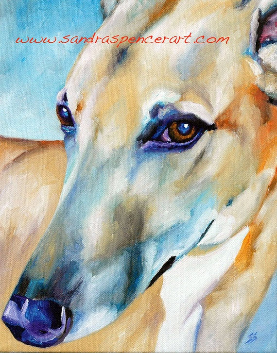 Etsy - Greyhound Portrait This artists caught the greyhound eye beautifully, $45.00
