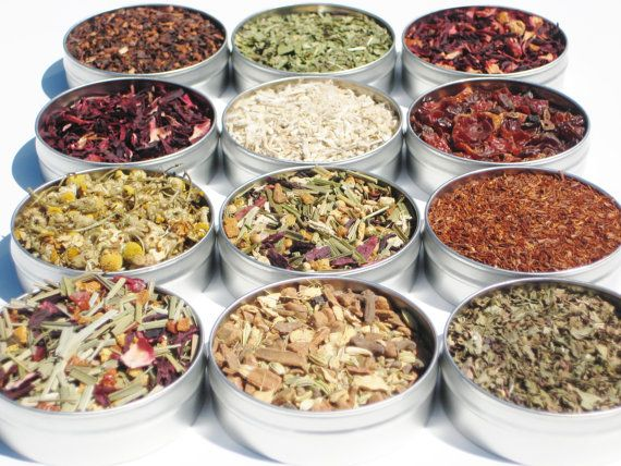 Organic Herbal Tea Kit  12 loose teas in 61mm tins by CraigsMarket on ETSY