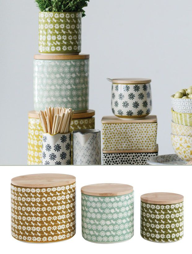 Floral Stoneware Canister With Bamboo Lid