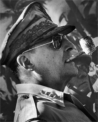 General of the Army Douglas MacArthur (1/26/1880-4/5/1964) was an American general & field marshal of the Philippine Army & played a prominent role in the Pacific theater during World War II. He received the Medal of Honor for his service in the Philippines, which made him & his father Arthur MacArthur, Jr., the 1st father & son to be awarded the medal. He was one of only 5 men to rise to the rank of General of the Army, and the only man ever to become a field marshal in the Philippine Army.