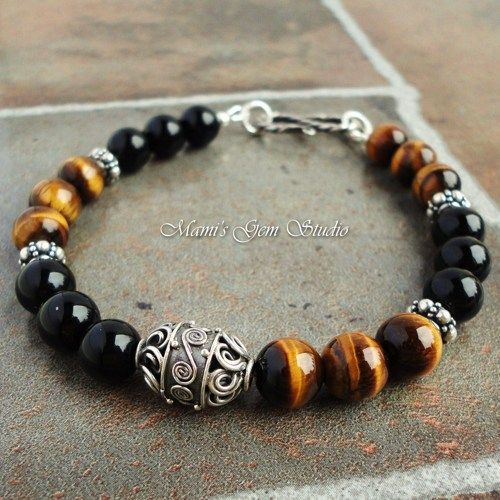 Tiger Eye and Black Onyx Gemstone Mens Bracelet in Sterling Silver | Mamis_Gem_Studio - Jewelry on ArtFire
