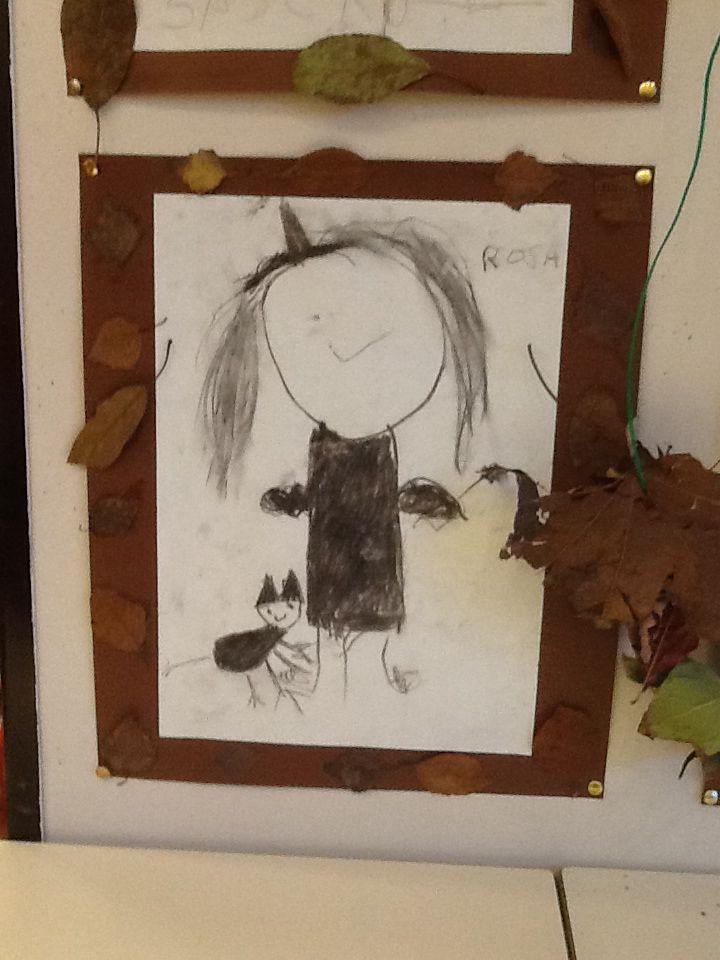 Bespreek wat er allemaal bij een heks hoort, hoe ze er uit ziet. Heks tekenen met houtskool. Een lijstje eromheen met gedroogde bladeren.