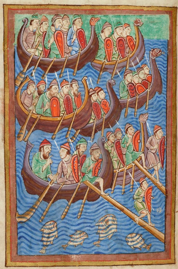 Landing of Danes | Miscellany on the life of St. Edmund | England, Bury St Edmunds |  ca. 1130 | The Morgan Library & Museum