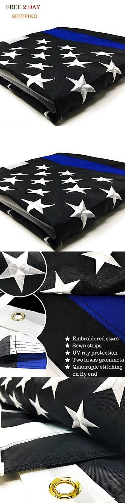 Flags 43533: Heavy Duty Thin Blue Line American Flag 3X5 Foot Honor Police 3 5 Brass Grommet -> BUY IT NOW ONLY: $30.6 on eBay!
