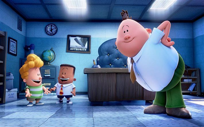Herunterladen hintergrundbild captain underpants, poster, 2017-film, 3d-animation