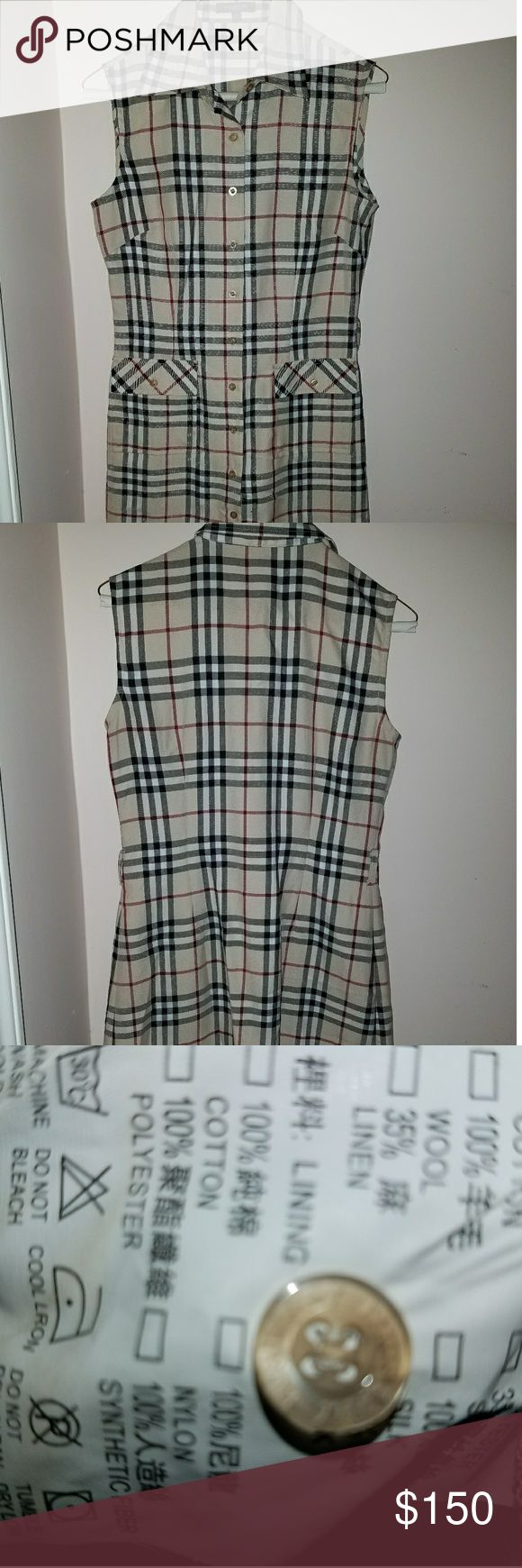"""Burberry Plaid Sleeveless Shirtdress ♧Classic Burberry London size Large  ♧Sleeveless Shirtdress w/Burberry logo buttons. 2 front pockets. (Extra button available on inside tag).  Bust:  17 1/2"""" Waist: 15 1/4"""" Length: 39""""  ♧Perfect condition, recently dry cleaned ♧No stains, holes, tears ♧Smoke/Pet free home  Purchased at Neiman Marcus Bal Harbour  ◇Matching belt was """"separated by mistake"""" from dress at cleaners. There is s possibility they may locate it. Slim belt or ribbon would look posh…"""