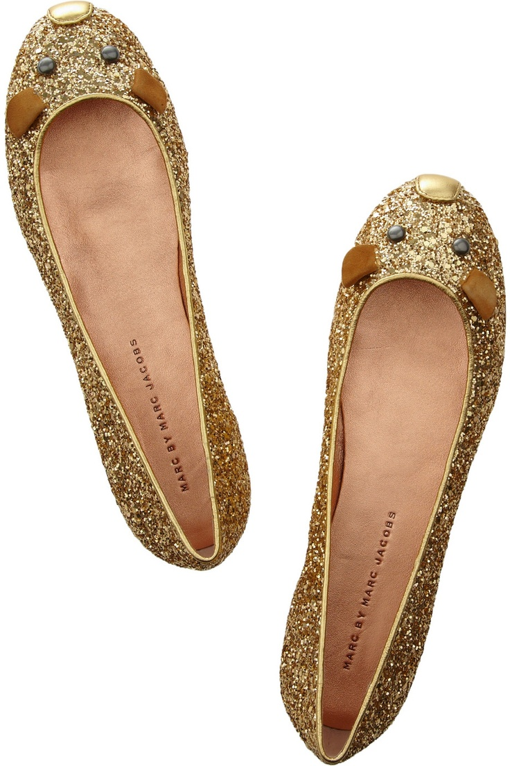Marc Jacobs Glitter Mouse Ballet Flats: Mice, Gold Glitter, Mouse Flats, Glitter Mouse, Jacobs Mouse, Marc Jacobs, Ballet Flats, Mouse Ballet, Ballerinas Shoes