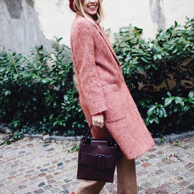 Hanna Stefansson wearing Lauren Mohair Coat in Red Rust