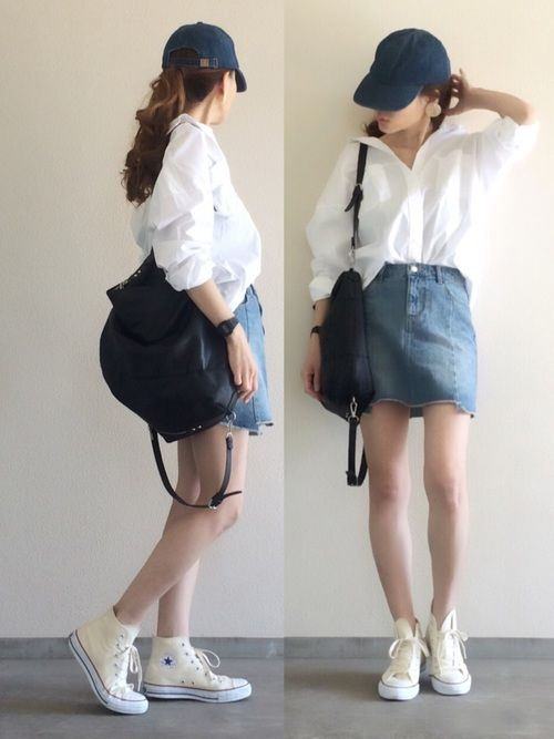 切り替えが可愛いデニムスカート 白シャツ襟抜き 楽ちんカジュアルの日 Instagram▷▶︎y