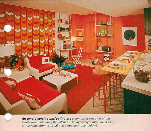 60s Home Decor sunset patio book 50s home decor 60s decorating mid century modern architecture atomic Vintage Mod Home Decor 1970s Orange Living Room With Bareating Area On The