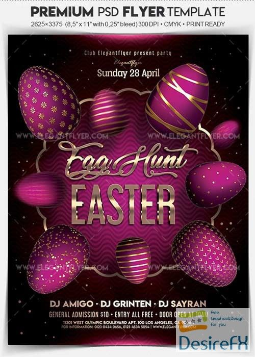 Easter Egg Hunt V04 2018 Flyer PSD Template + Facebook Cover