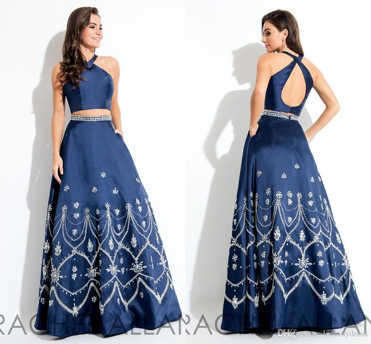 Dark Navy Floor Length Dress For Party Long Prom Dress Halter Neck Open Back Sexy A Line Dress Beadings Two Pieces Formal Gowns Prom Dress Patterns Prom Dress Shops Uk From Lovemydress, $131.66| Dhgate.Com