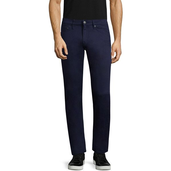 Burberry Men's Solid Cotton Pants - Dark Blue/Navy, Size 33 (€135) ❤ liked on Polyvore featuring men's fashion, men's clothing, men's pants, men's casual pants, mens zip off pants, mens pants, mens zipper pants, mens navy blue pants and men's casual cotton pants