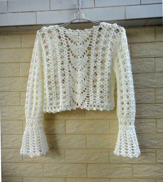 White Crochet Crop Top Long Sleeve Bolero by TinaCrochet2016