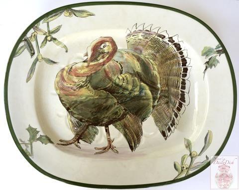 Huge RARE Antique 1902 Royal Doulton Tree & Well Transferware Platter w/ Turkey Holly Mistletoe Thanksgiving to Christmas